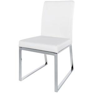 Chaise blanche en métal chromé Niero