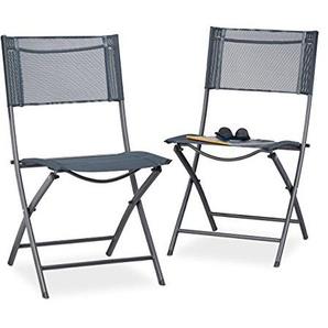 Relaxdays 10020944 Chaise de Jardin Pliable Anthracite, 48 x 55 x 87 cm