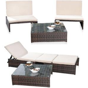 Salon, salon de jardin, suite 2er table fauteuil chaise chaise longue bain de soleil poly-rotin marron - MUCOLA