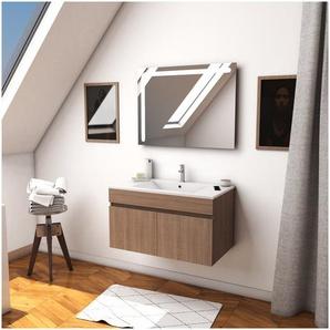 Ensemble Meuble de salle de bain chene celtique 60cm suspendu a portes + vasque ceramique blanche + miroir led integree - STARTED pack 19 - AURLANE