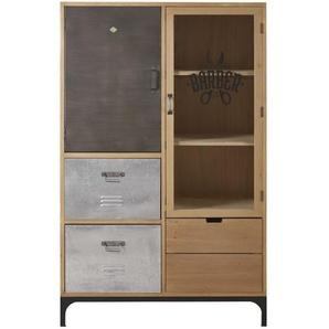 Vitrine 2 portes 3 tiroirs en sapin massif, verre et métal Harvey