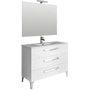 Ensemble de salle de bain LINARES 100 cm Blanc brillant - MENNZA