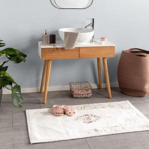 Tapis de Bain Luis Beige/Cuivre 70x120 cm - Tapis pour salle de bain
