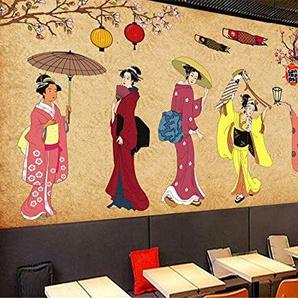 Papier Peint de Mode en Tissu de Soie Sexy Japonais Vintage caractère Boutique Sushi Fond Mur Mural 3D Papier peint-280x200cm