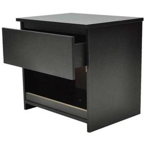 Table de nuit chevet commode armoire meuble chambre 2 pcs avec 1 tiroir noir - Noir - HELLOSHOP26