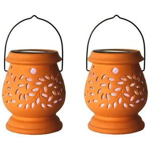 CLAY LANTERN-2 Lanternes Solaires dextérieur LED Terracotta H14,5cm Best Season