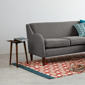 Helena, grand canapé d'angle, tissu texturé gris fumé