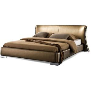 Lit double doré en cuir 160 x 200 cm au style moderne