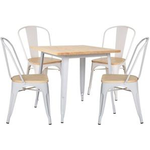 SKLUM - Lot de Table LIX Bois (80x80) & 4 Chaises LIX Bois Blanc