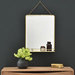 Miroir en laiton rectangulaire avec étagère Chaumont