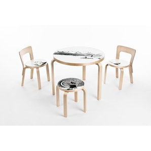 Artek Tabouret enfant NE60 - pieds bouleau / assise linoleum noir