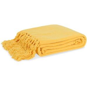 Plaid jaune citron à franges 125x150