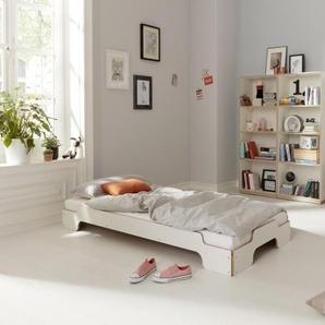Müller Möbelwerkstätten Couchette empilable Confort - 90 x 190 cm - CPL blanc avec bord en contreplaqué de bouleau