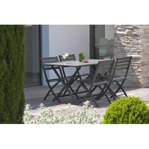 Ensemble table de jardin MARIUS pliante en aluminium 140x80 cm + 4 chaises pliantes - ANTHRACITE - ALUMOB