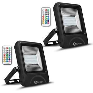 2×Anten 50W RGB Projecteur LED IP65 Étanche Lampe Halogène 16 Couleurs 4 Modes, Ultra-Mince Spot Éclairage Dimmable Extérieur, Spot LED Multicolore avec Télécommande (Boîte de Jonction Fournie)