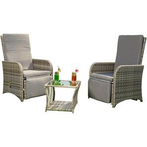 2 fauteuils + table en poly-rotin gris, salon, suite, salon de jardin, chaise de jardin - MUCOLA