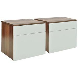 Table de nuit chevet commode armoire meuble chambre 2 pcs avec 1 tiroir marron/blanc - Blanc - HELLOSHOP26