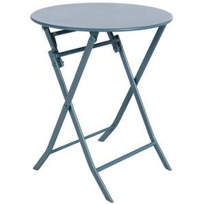 Table de jardin ronde en acier traité époxy, coloris bleu orage - Dim : D 60 x H 71 cm - PEGANE