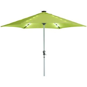 Parasol jardin droit LED Alu Sol Luxe - Rond - Ø 3m - Vert - HABITAT ET JARDIN