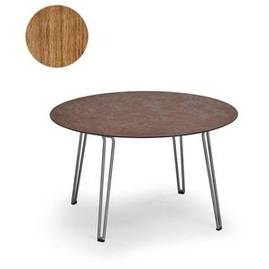 Weishäupl Table Slope - Ronde avec structure en métal - teck massif non traité - noir