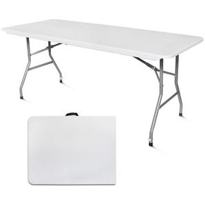 Table Pliante Transportable, Table en Plastique Robuste, 180 x 76 cm, Blanc, Pliable en deux, Matériau: HDPE - LEOGREEN