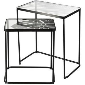 Bouts de canapé en métal noir et verre décor feuillage (x2)