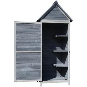 Maison de jardin en bois gris clair, 77x53x179cm avec toit à pignon et porte - WILTEC