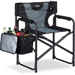 Chaise de régie chaise de camping pliante fauteuil de pêche 110 kg glacière, noir gris - RELAXDAYS