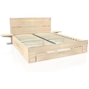 Lit Happy + tiroirs + chevets amovibles - 2 places 160x200 Brut