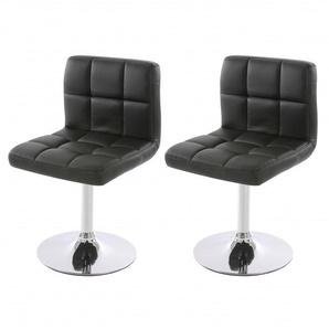 Lot de 2 chaises fauteuils de salle à manger en simili-cuir noir - DéCOSHOP26