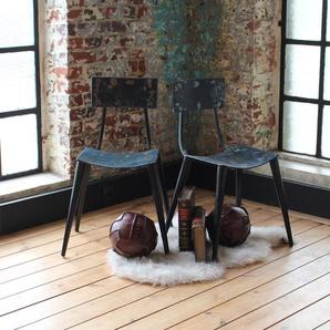 Chaise vintage conçue à partir de vieux bidons métal
