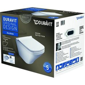 Pack WC suspendu Duravit DuraStyle 455109 - cuvette Rimless + abattant frein de chute, système Durafix inclus