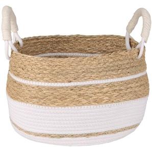 Panier tressé en coton et fibre végétale bicolore