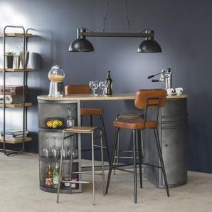 Tabouret de bar industriel marron et métal noir