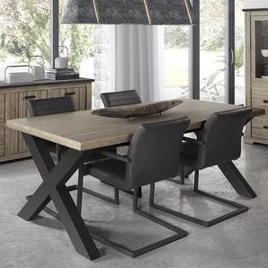Table à manger contemporaine couleur bois et anthracite JOHNSON