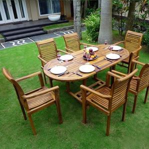 Salon de jardin en Teck 6-8 places ovale huilé Bali Raja