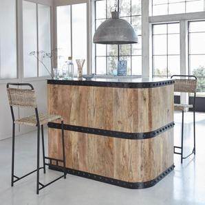 Bar en angle industriel bois et métal