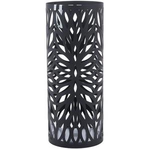 Porte parapluies en métal rond avec un plateau et crochets 49cm x Ø19.5cm Noir LUC20B - SONGMICS