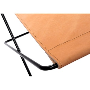 Manufakturplus Repose-pied pour Hardoy Butterfly Chair  - Cuir selle - acier noir - Cuir Sattel nature
