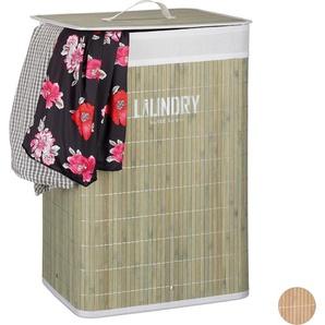 Panier à linge pliable couvercle corbeille bambou coffre à linge 60 litres sac à linge 60x40x30cm, vert - RELAXDAYS