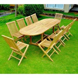 Kajang: Salon de jardin Teck massif 10/12 pers - Table ovale + 10 chaises