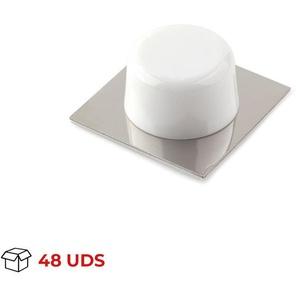 Boîte avec 48 Butoir de porte adhésif REI, en plastique, avec finition chrome brillant / blanc, forme circulaire et design classique