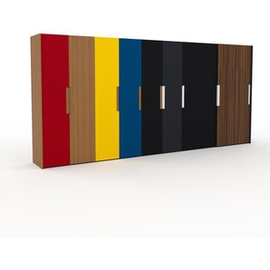 Dressing - Noir/Noyer, design, armoire penderie pour chambre ou entrée, haut de gamme, avec portes coulissantes - 504 x 233 x 65 cm, modulable