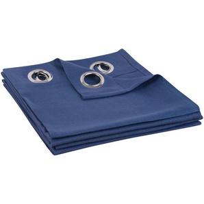 Rideau à illets en lin lavé bleu marine à lunité 130x300