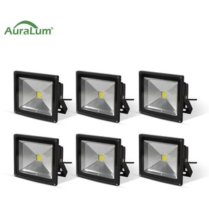 6×Auralum Projecteur LED 20W IP65 Spot LED Blanc Froid 6000K Éclairage Extérieur et Intérieur 1600-1700LM Coque Noir