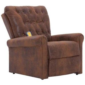 Fauteuil inclinable électrique de massage confort relaxant massant détente brun similicuir daim - HELLOSHOP26
