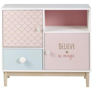 Cabinet de rangement 1 tiroir 2 portes blanc, rose et bleu Mermaid