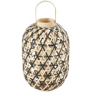 Lanterne en bambou tressé coloris naturel et noir