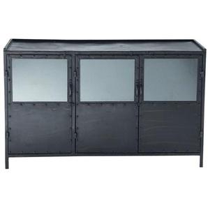 Buffet indus vitré en métal noir L 130 cm Edison