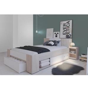 DETROIT Lit extensible adulte + tête de lit chevets intégrés contemporain décor chêne brossé et blanc perle - l 140 x L 190-200 cm